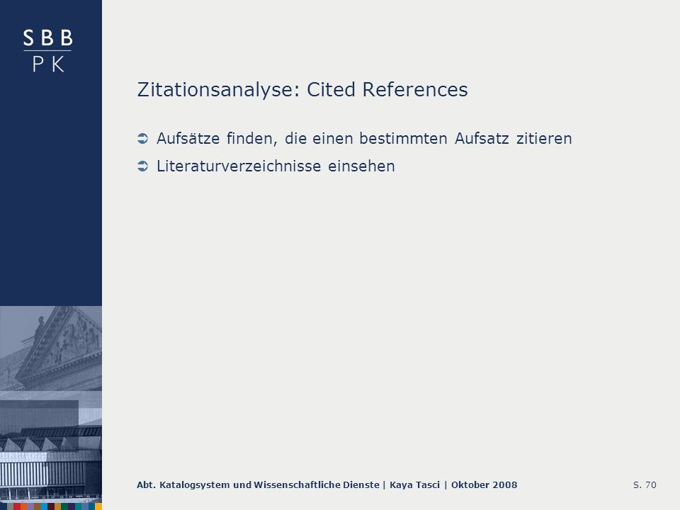 Zitationsanalyse: Cited References