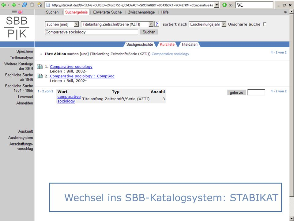 Wechsel ins SBB-Katalogsystem: STABIKAT