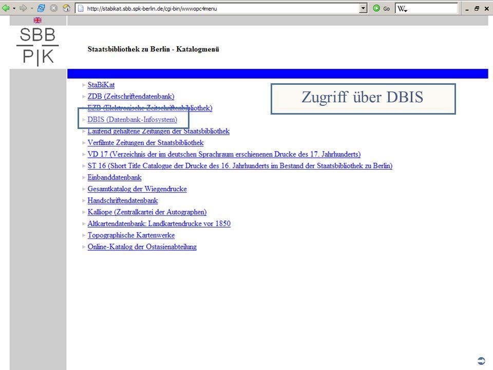 Zugriff über DBIS Abt. Katalogsystem und Wissenschaftliche Dienste | Kaya Tasci | Oktober 2008 