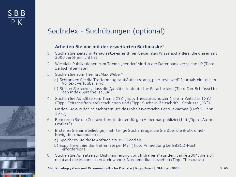 SocIndex - Suchübungen (optional)