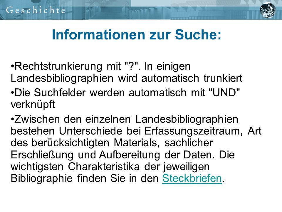 Informationen zur Suche: