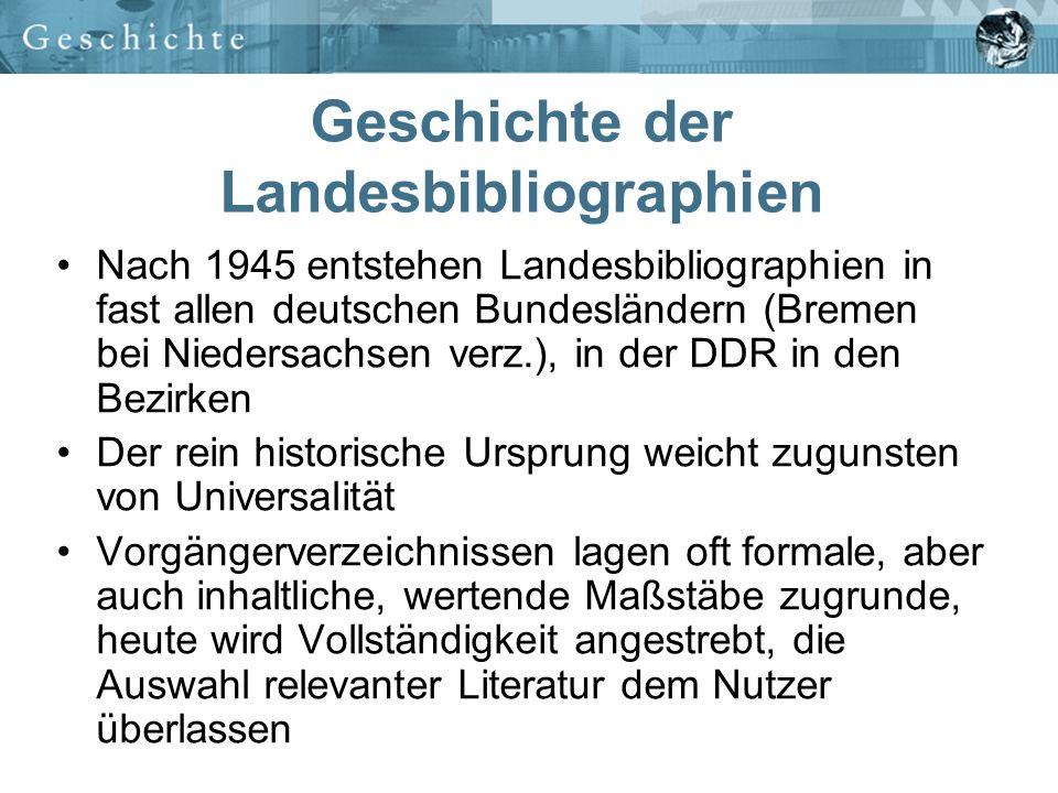 Geschichte der Landesbibliographien