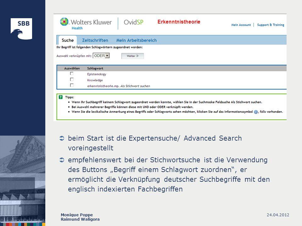 beim Start ist die Expertensuche/ Advanced Search voreingestellt