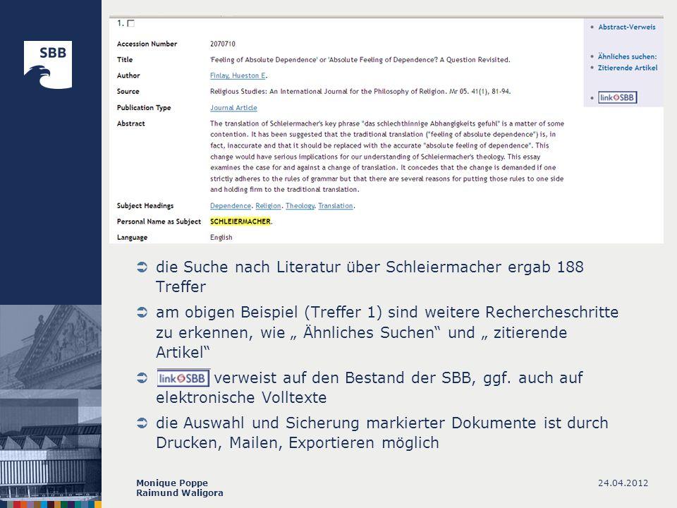 die Suche nach Literatur über Schleiermacher ergab 188 Treffer