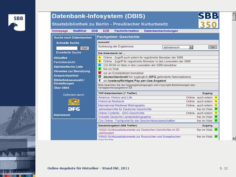 Online-Angebote für Historiker - Stand Okt. 2011