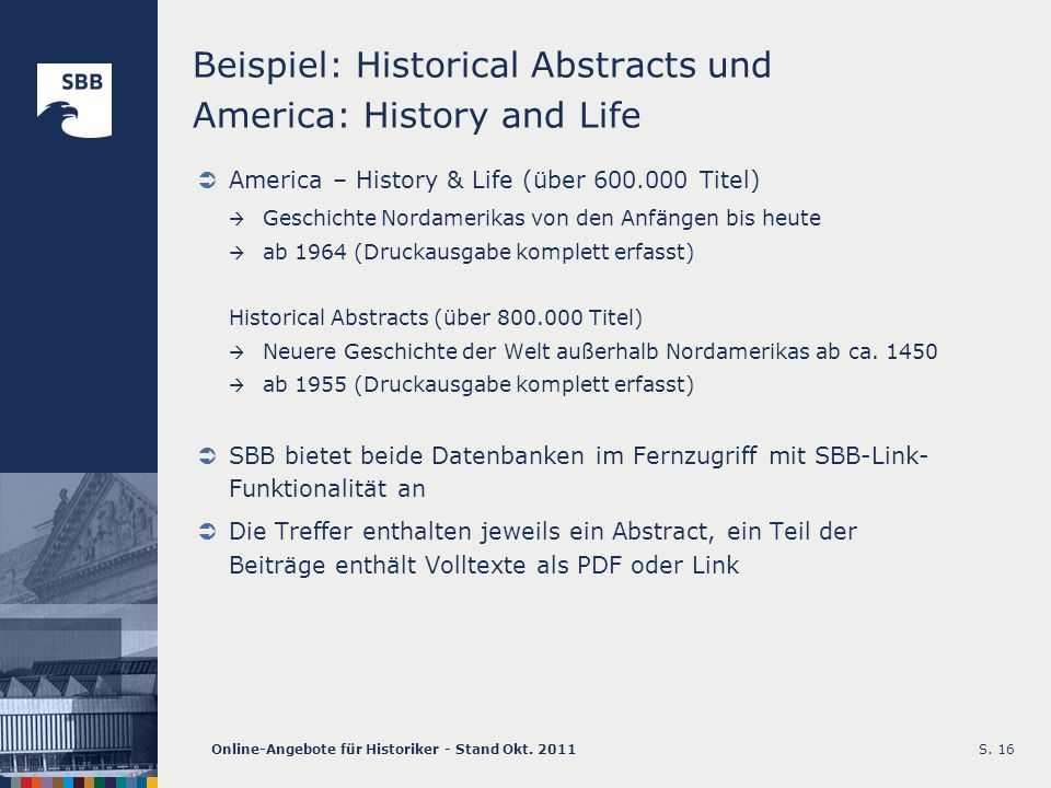 Beispiel: Historical Abstracts und America: History and Life