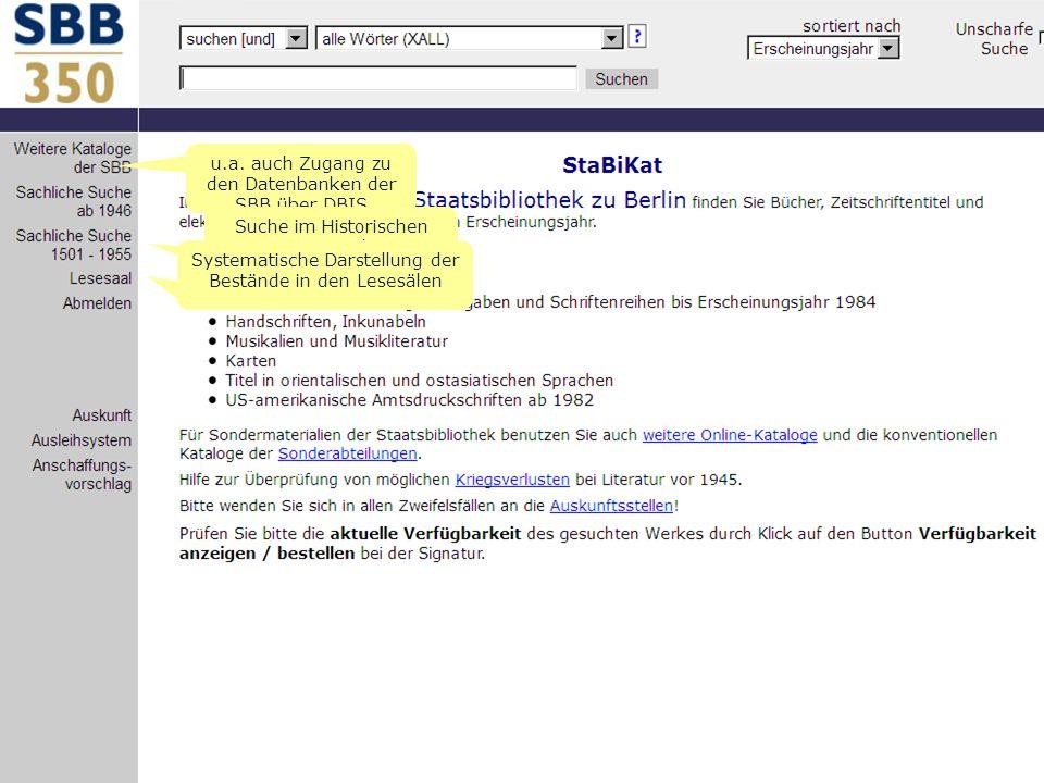 u.a. auch Zugang zu den Datenbanken der SBB über DBIS