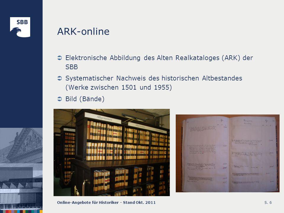 ARK-online Elektronische Abbildung des Alten Realkataloges (ARK) der SBB.