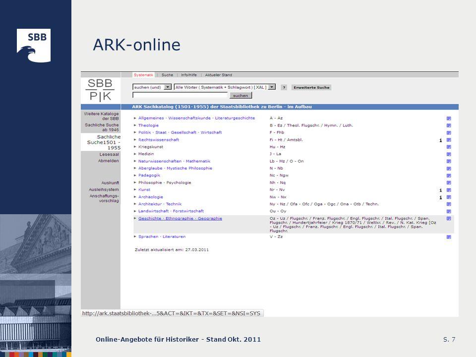 ARK-online Online-Angebote für Historiker - Stand Okt. 2011