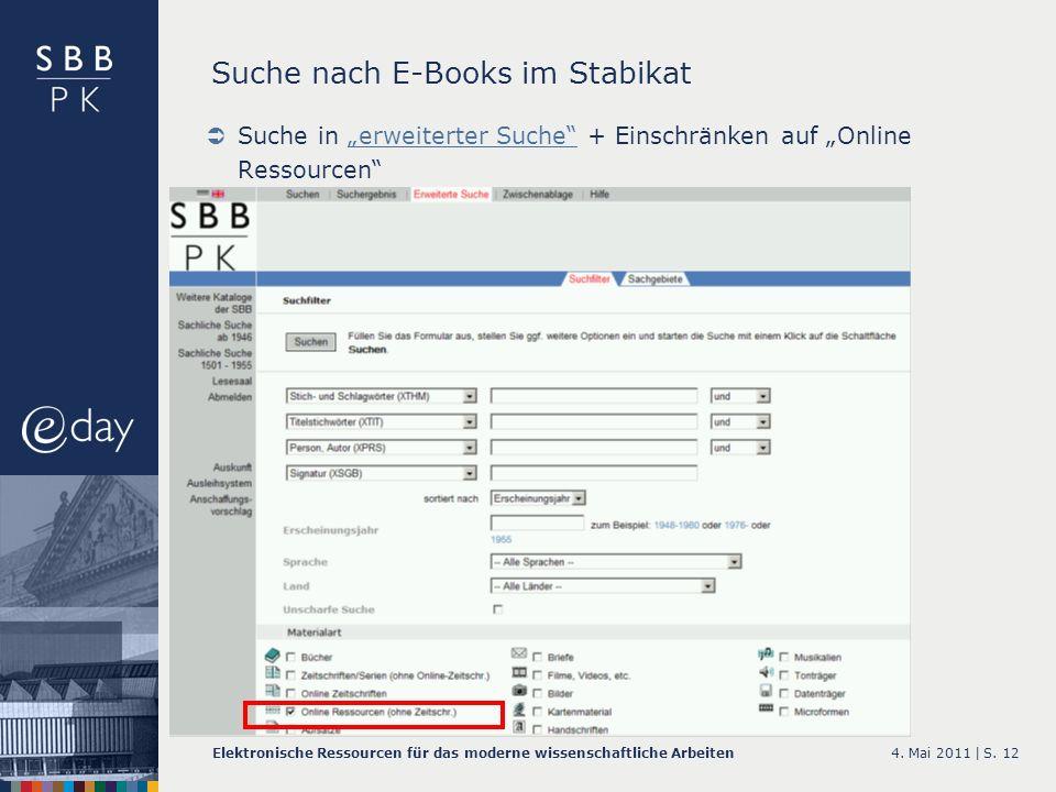 Suche nach E-Books im Stabikat
