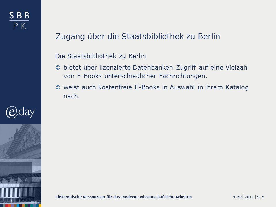Zugang über die Staatsbibliothek zu Berlin