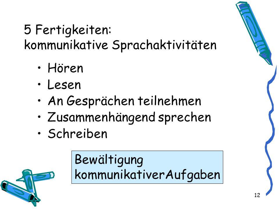 5 Fertigkeiten: kommunikative Sprachaktivitäten