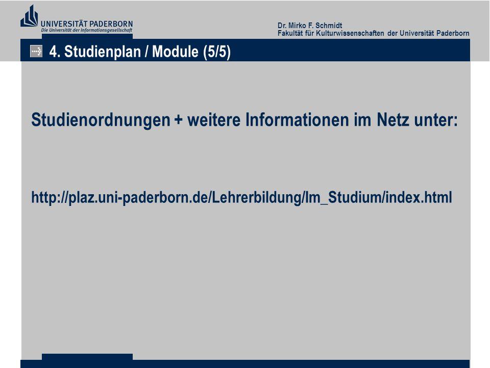Studienordnungen + weitere Informationen im Netz unter: