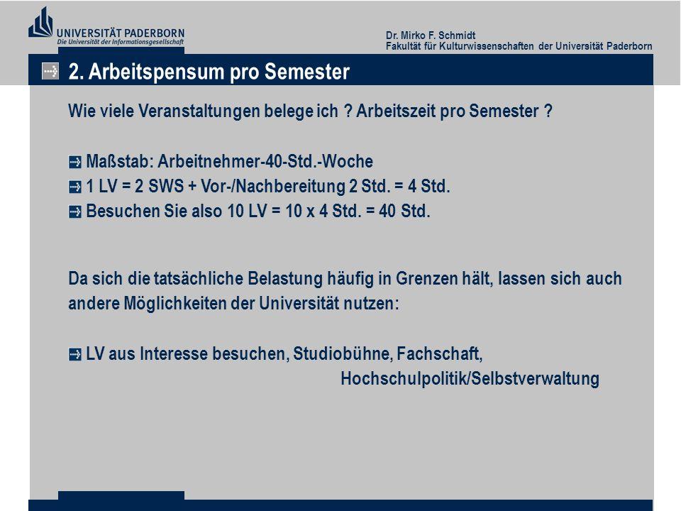 2. Arbeitspensum pro Semester