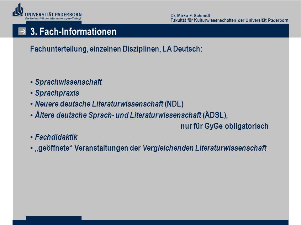 3. Fach-Informationen Fachunterteilung, einzelnen Disziplinen, LA Deutsch: Sprachwissenschaft. Sprachpraxis.