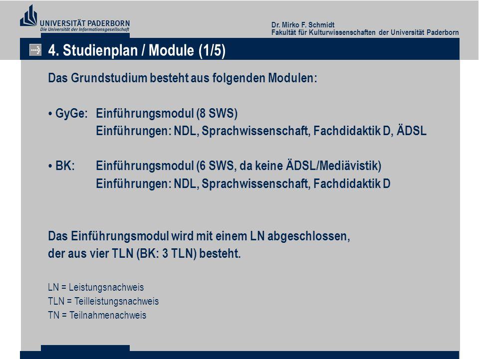 4. Studienplan / Module (1/5)