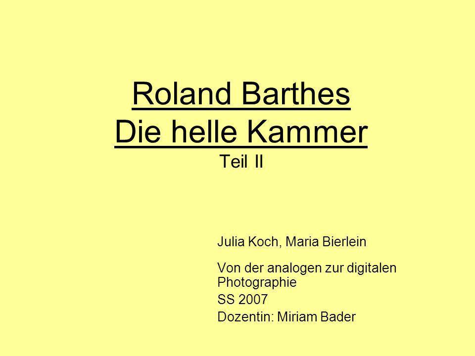 Roland Barthes Die helle Kammer Teil II
