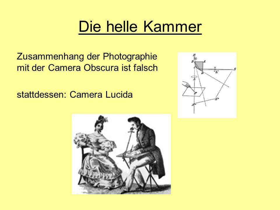Die helle Kammer Zusammenhang der Photographie mit der Camera Obscura ist falsch.