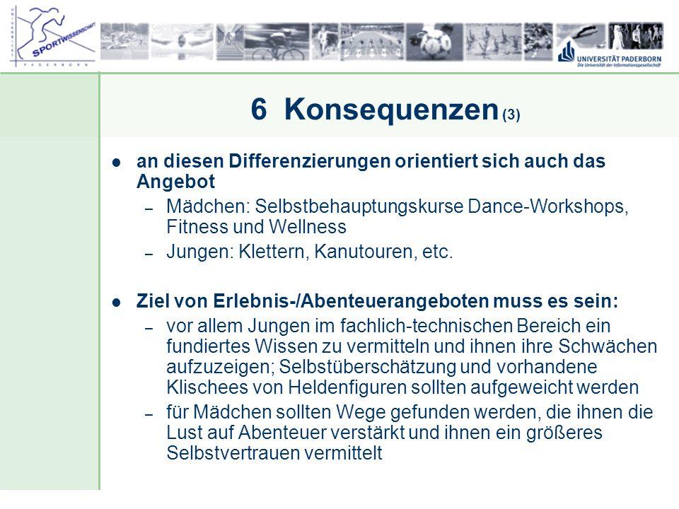 6 Konsequenzen (3) an diesen Differenzierungen orientiert sich auch das Angebot.