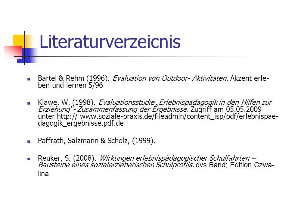 Literaturverzeicnis Bartel & Rehm (1996). Evaluation von Outdoor- Aktivitäten. Akzent erle- ben und lernen 5/96.