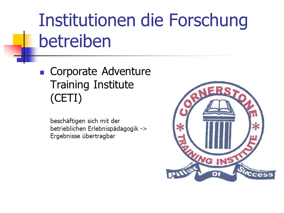 Institutionen die Forschung betreiben