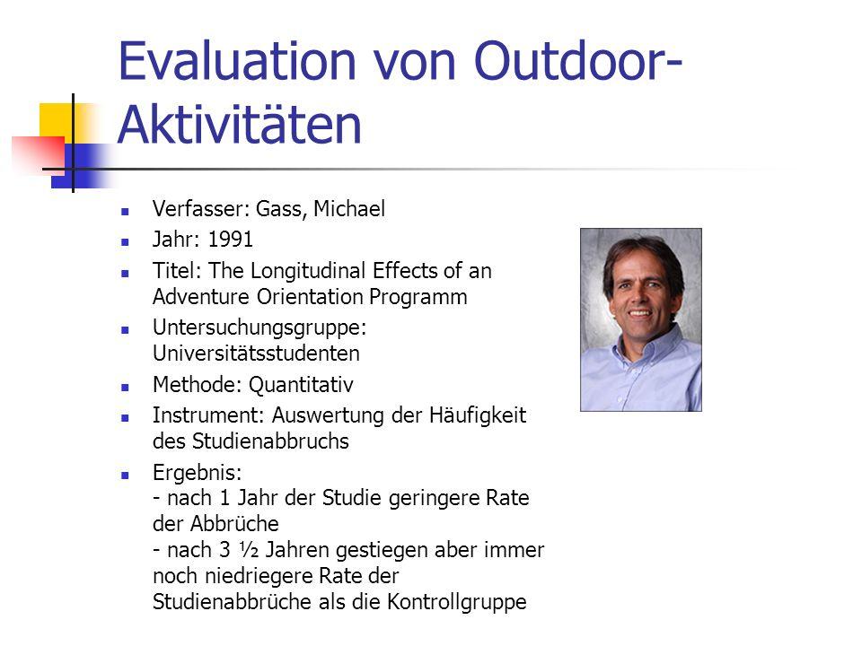Evaluation von Outdoor-Aktivitäten