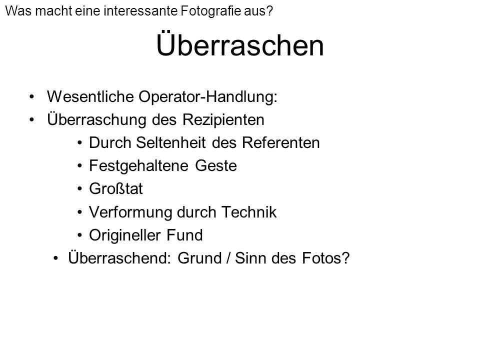 Überraschen Wesentliche Operator-Handlung:
