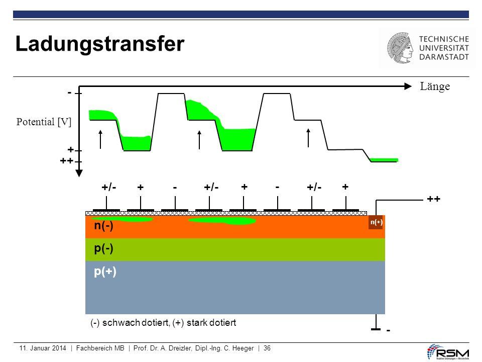 Ladungstransfer Länge - + ++ +/- + - +/- + - +/- + ++ n(-) p(-) p(+) -