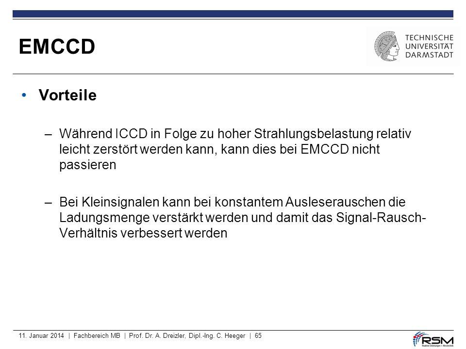 EMCCD Vorteile. Während ICCD in Folge zu hoher Strahlungsbelastung relativ leicht zerstört werden kann, kann dies bei EMCCD nicht passieren.
