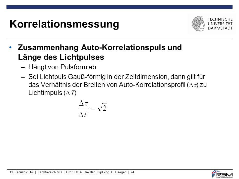 Korrelationsmessung Zusammenhang Auto-Korrelationspuls und Länge des Lichtpulses. Hängt von Pulsform ab.