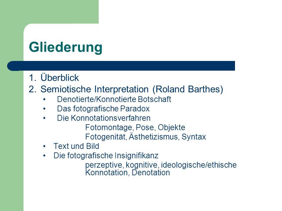 Gliederung Überblick Semiotische Interpretation (Roland Barthes)