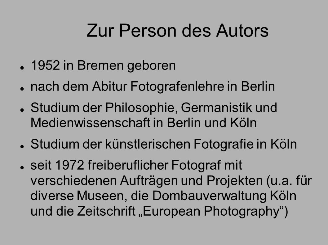 Zur Person des Autors 1952 in Bremen geboren