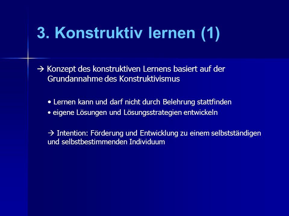 3. Konstruktiv lernen (1)  Konzept des konstruktiven Lernens basiert auf der Grundannahme des Konstruktivismus.
