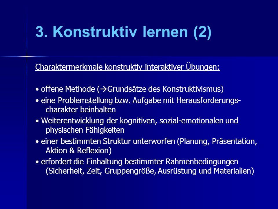 3. Konstruktiv lernen (2) Charaktermerkmale konstruktiv-interaktiver Übungen: • offene Methode (Grundsätze des Konstruktivismus)