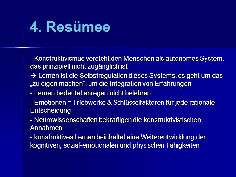 4. Resümee - Konstruktivismus versteht den Menschen als autonomes System, das prinzipiell nicht zugänglich ist.