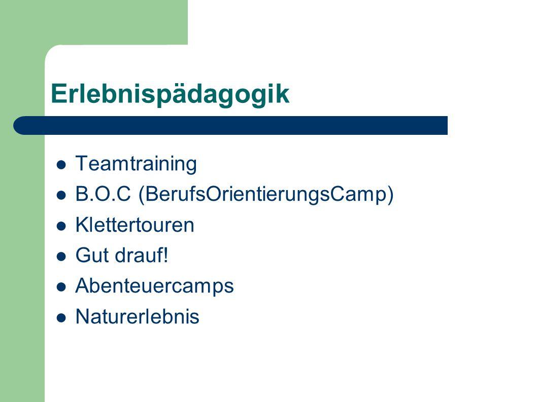 Erlebnispädagogik Teamtraining B.O.C (BerufsOrientierungsCamp)