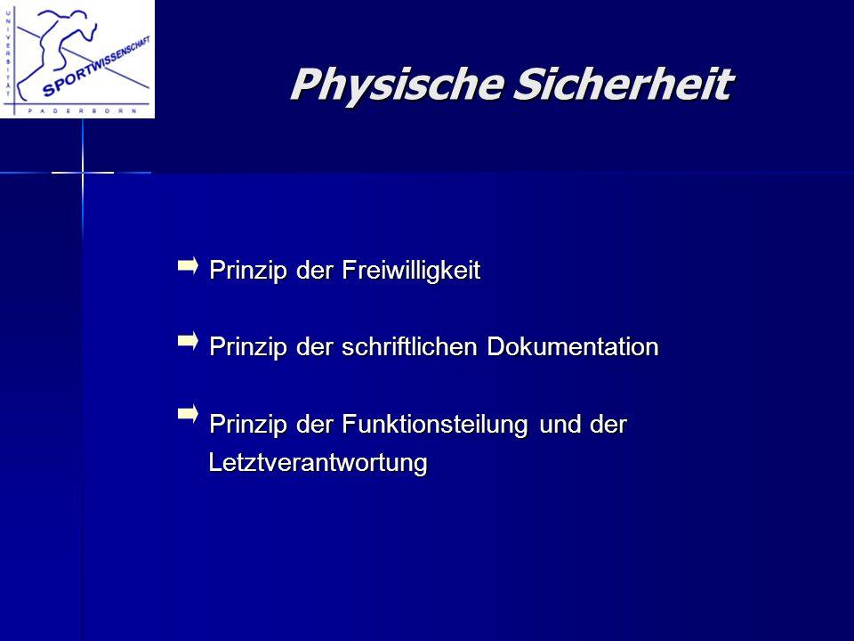 Physische Sicherheit Prinzip der Freiwilligkeit
