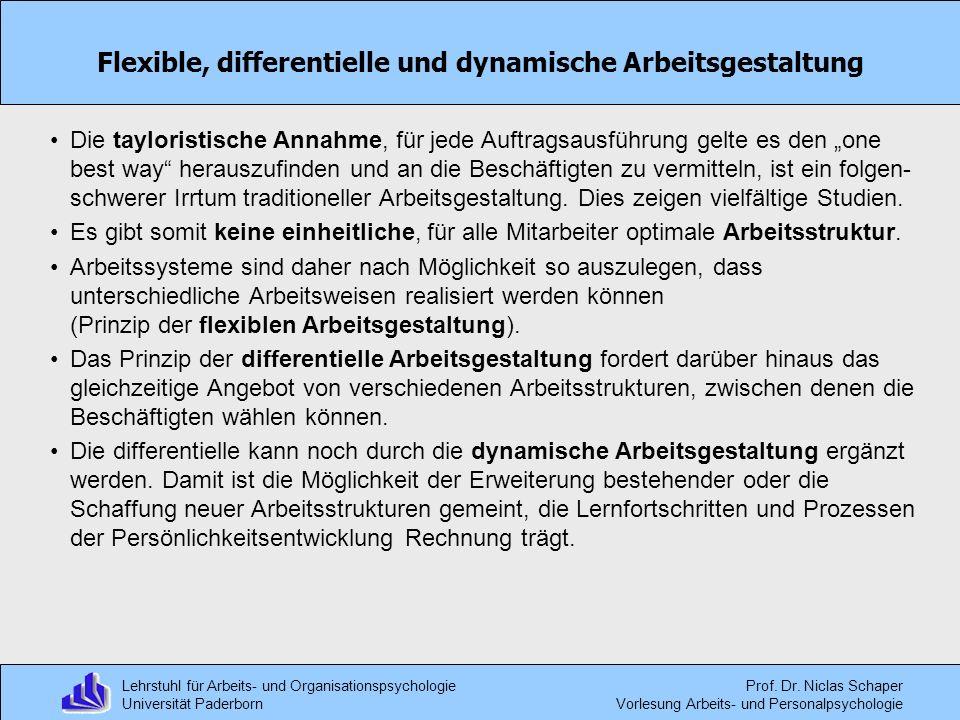 Flexible, differentielle und dynamische Arbeitsgestaltung