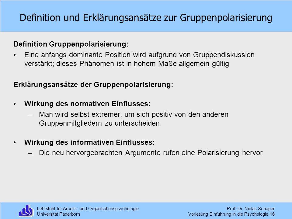 Definition und Erklärungsansätze zur Gruppenpolarisierung