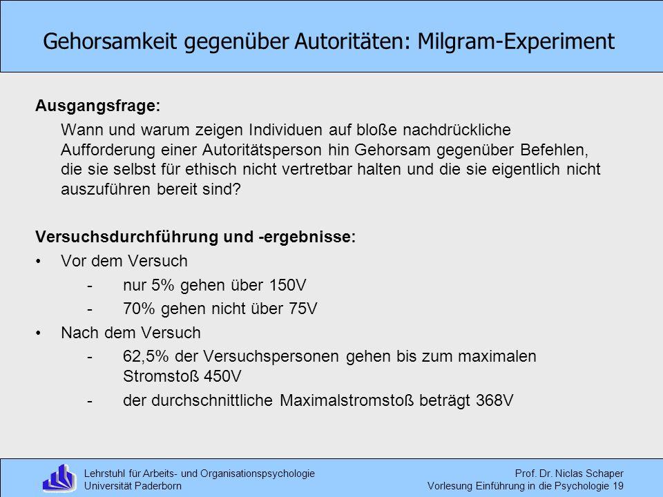 Gehorsamkeit gegenüber Autoritäten: Milgram-Experiment