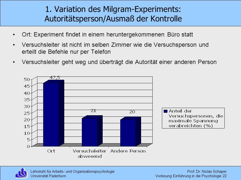 1. Variation des Milgram-Experiments: Autoritätsperson/Ausmaß der Kontrolle