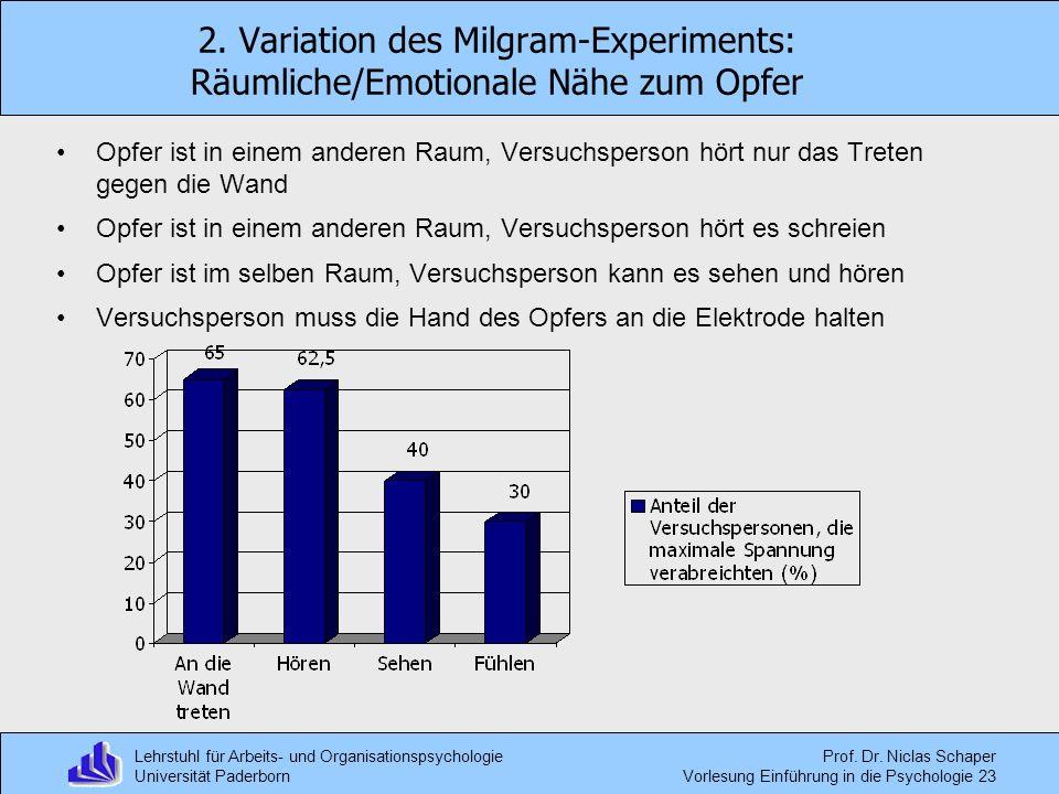 2. Variation des Milgram-Experiments: Räumliche/Emotionale Nähe zum Opfer