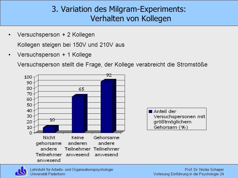 3. Variation des Milgram-Experiments: Verhalten von Kollegen