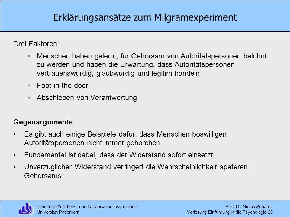 Erklärungsansätze zum Milgramexperiment