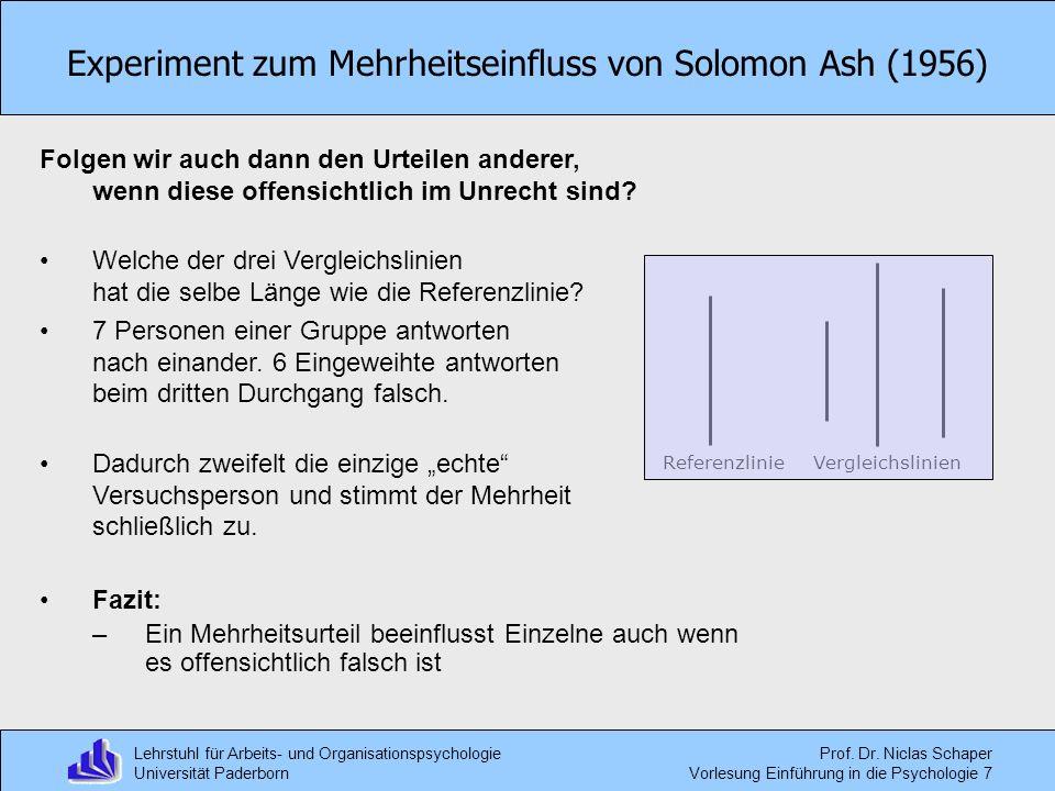 Experiment zum Mehrheitseinfluss von Solomon Ash (1956)