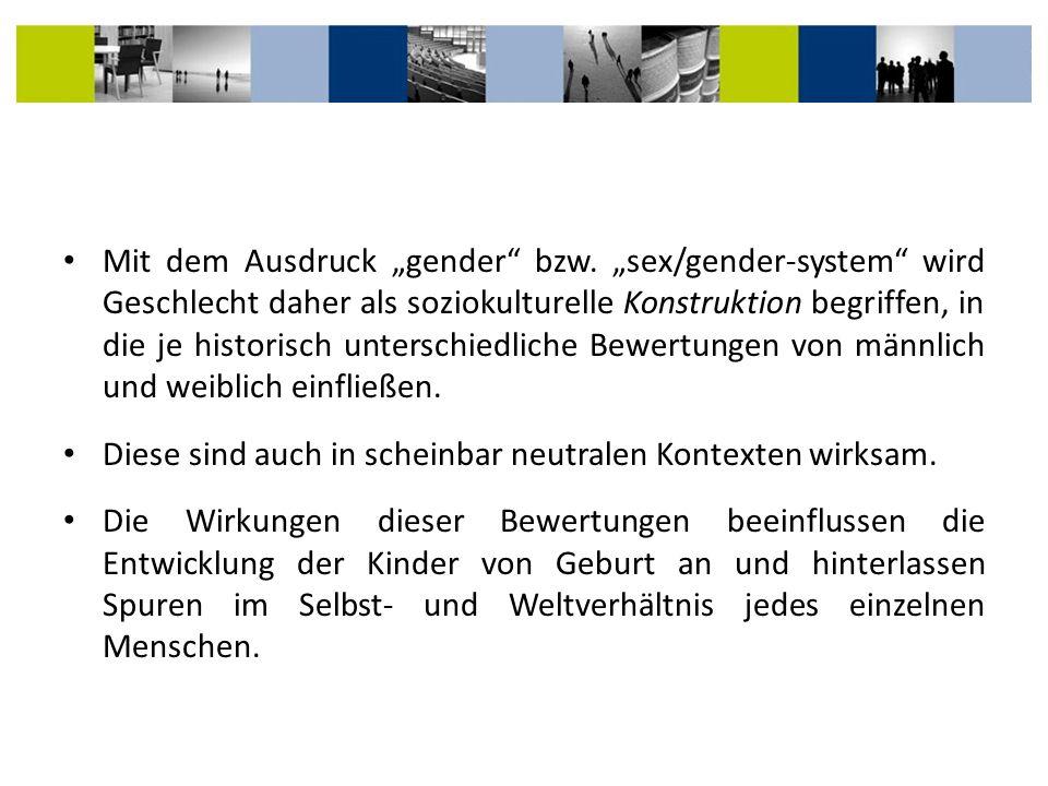 """Mit dem Ausdruck """"gender bzw"""