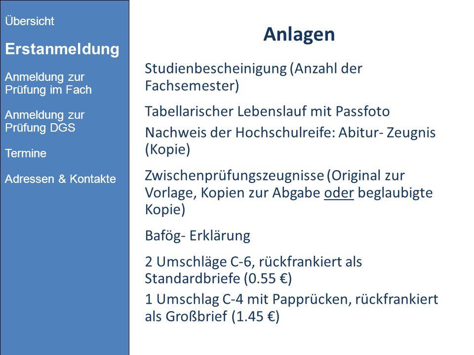 Anlagen Studienbescheinigung (Anzahl der Fachsemester)