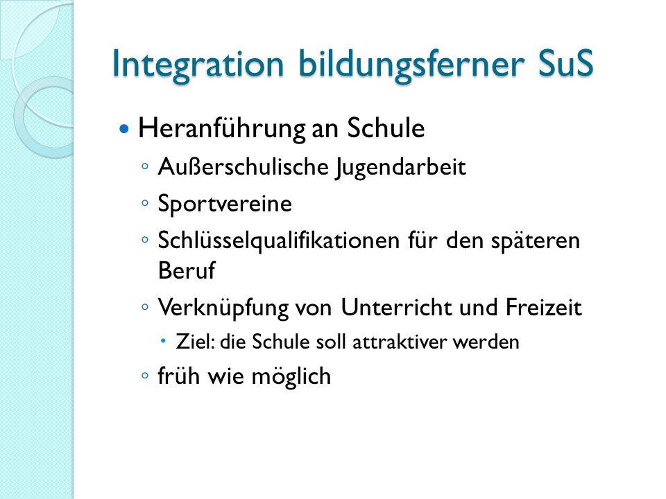 Integration bildungsferner SuS