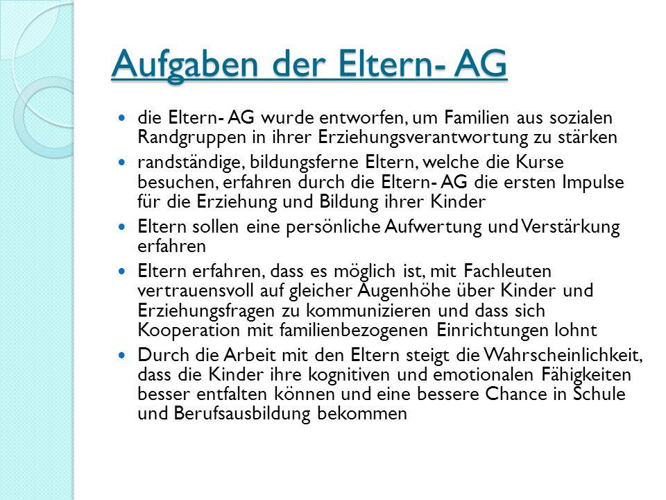 Aufgaben der Eltern- AG