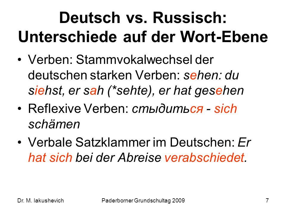 Deutsch vs. Russisch: Unterschiede auf der Wort-Ebene